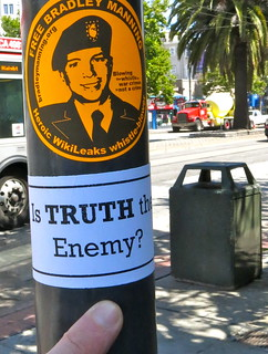 From http://www.flickr.com/photos/98710702@N08/9254300525/: is TRUTH the enemy? : bradley manning sticker,  san francisco (2013)