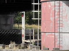 Mondrian ladder (Nekoglyph) Tags: wood red metal grey lights paint legs structure ladder caustics teesside navigation piles newportbridge rivertees