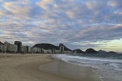 Sunset at Copacabana Beach (alobos Life) Tags: sunset sea brazil sky praia beach rio brasil clouds de atardecer mar sand janeiro playa arena copacabana cielo nubes