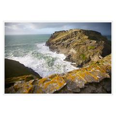 tintagel head (khrawlings) Tags: ocean uk winter sea castle wall coast cornwall tide hill foam lichen tintagel headland khrawlings