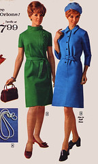 Aldens 68 fw green and blue (jsbuttons) Tags: blue green clothing 60s buttons womens catalog 1968 sixties aldens vintagefashion buttonfrontdress
