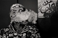 Pipe (fcribari) Tags: street portrait people blackandwhite man face fuji retrato smoke pipe pb smoking fujifilm pretoebranco x100s vision:mountain=0509 vision:outdoor=086 vision:sky=0597