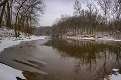 Some Days Are Grey (G Michael Lewis) Tags: trees winter snow cold ice nature water clouds forest reflections river landscape outdoors scenery stream h2o hills february
