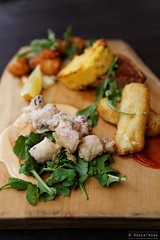 20140224-02-Taste plate at The Quarry in Hobart.jpg (Roger T Wong) Tags: food lunch restaurant australia scallops octopus tasmania hobart fried quarry porkbelly polenta croquettes sigma50mmf28exdgmacro sigma50macro canoneos6d