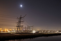 Power Night 17814 (100_woorden) Tags: longexposure nightphotography thenetherlands powerstation wateringen lightpollution tiltshift 380kv canon5dmarkiii canontse24mmf35lii randstad380 380000volt