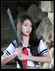 nEO_IMG_DP1U0393 (c0466art) Tags: school light portrait cute girl female canon uniform asia quality gorgeous young taiwan killer sword cave lovely charming pure role hight 1dx cosaply 凡凡 c0466art