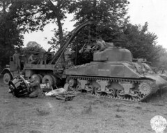 Sherman undergoing an engine replacement