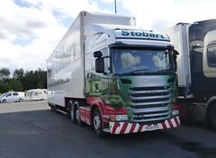 H2056 - PE64 EPU (Cammies Transport Photography) Tags: station truck lorry madison service eddie bp lucie scania esl harthill stobart eddiestobart epu r450 h2056 pe64 pe64epu