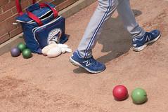 A Pitcher's Things (peterkelly) Tags: usa digital ball bag us shoes unitedstates legs baseball michigan unitedstatesofamerica detroit dirt bluejays northamerica pitcher bullpen mlb comericapark torontobluejays
