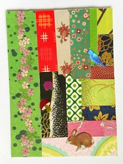ATC1332 - Patchwork 11:Thick forest (tengds) Tags: atc artisttradingcard artcard handmadecard card collage paperscraps washi yuzenwashi bird blue green red brown black pink rabbit mushrooms patchwork papercraft tengds