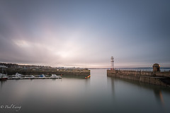 Harbour Wall (Paul S Ewing) Tags: newhaven scotland uk firth forth lighthouse calm sunset longexposure