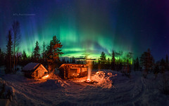 Aurora Camp 30.3 (M.T.L Photography) Tags: northernlights auroraborealis auroracamp mtlphotography mikkoleinonen night light winter snow fire trees colorful green blue red campfire