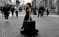 Milano.  La ragazza con la valigia ! (Salvatore Lo Faro) Tags: milano lombardia italia italy viadante ragazza valigia abito nero salvatore lofaro canon g16
