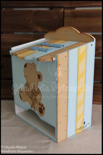 """Fraldário, caixa de medicamentos, cesta, caixa para toalhitas, moldura e placa de porta """"I Love My Bear"""""""
