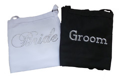 Apron Set for Bride and Groom (initial_impressions) Tags: embroidered personalized rhinestones apron weddingdayapron