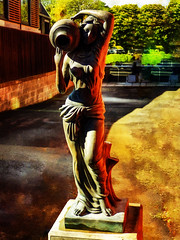 Dark and Light (Steve Taylor (Photography)) Tags: art digital statue women lady newzealand nz southisland canterbury christchurch city trees texture shadow maiden plinth vase 3d