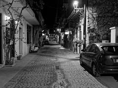 Back Alley (tomymagl1) Tags: blackandwhite bw monocrom backalley road sidewalk architecture column koroni messinia peloponese greece travel vacation