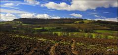 Part 2 (Picture post.) Tags: landscape nature green springtime fields trees bluesky clouds plough hills tracks paysage arbre shadows