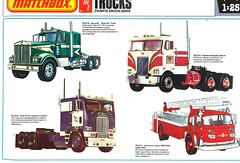 Matchbox Kit Catalogue 1979/80 (Nobo Sprits) Tags: matchbox kit catalogue 197980 1979 1980 kenworth movin on truck pabat white freightliner cabover budweiser peterbilt cobover american la france 1000 series ladder chief brandweerwagen catalogus katalog