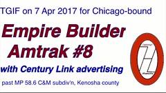 20170407Empire Builder TGIF (CNW 11177) Tags: empirebuilder 8 amtk3 amtk175 centurylink advertise cmsubdivn amtrak