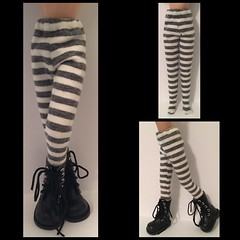 Charcoal Gray And Ivory Striped Tights For Blythe