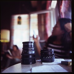 Two lens, in the Night Owl Cafe (mimiredo) Tags: hasselblad velvia 100 fujichrome fullerton 501c
