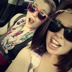 Sisters in Sunglasses (emily.elyse) Tags: red green love home nature girl up car yard square photography spring ride maine may front squareformat photoaday flapper pure dressed raybans project354 iphoneography instagramapp uploaded:by=instagram lifebluesky
