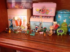 Glass animals and vintage sanrio (Hazel) Tags: glass animals vintage stars miniature little twin mini sanrio 80s tins vtg