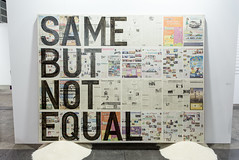Mixed media installation by Rirkrit Tiravanija (b. 1961): Untitled (same but not equal), 2013 (Newspaper on Linen, Rice) /  Shanghai Gallery of Art / Art Basel Hong Kong 2013 / SML.20130523.6D.14129 (See-ming Lee  SML) Tags: china urban hk art cn typography photography hongkong newspaper crazy rice mixedmedia events fineart photojournalism installation creativecommons  wtf sga   hkg journalism  6d artbasel  canon1740f4l  rirkrittiravanija  fav10 2013 shanghaigalleryofart  ccby seeminglee canonef1740f4lusm  canon6d smlprojects crazyisgood  smlfineart smluniverse canoneos6d smlphotography smlevents flickrstats:views=10000 flickrstats:views=5000 abhk sml:projects=crazyisgood fl2fbp sml:projects=photojournalism sml:projects=smlfineart artbaselhongkong2013