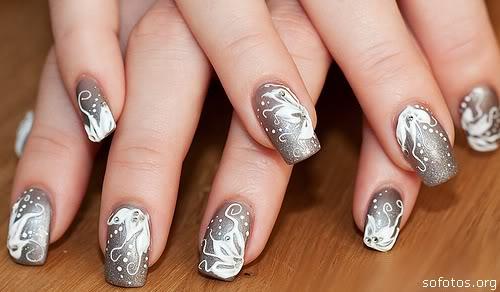 Unhas decoradas prata