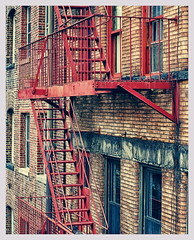 Red (www.LKGPhoto.com) Tags: city nyc red urban stairs chelsea fireescape colortheory lkgphotography wwwlkgphotocom