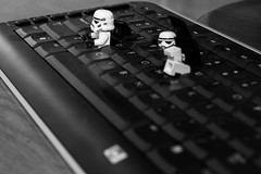 Not So Great Escape (Bryan _PSF) Tags: blackandwhite keyboard escape dumb stormtrooper clumsy