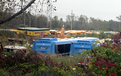 Centro Buses, Mayflower Trailers And School Buses. (dccradio) Tags: railroad blue trees sky bus tree buses yellow train cloudy centro rail overcast brush pole vehicles powerlines amtrak wires greenery junkyard scrapyard trailer schoolbus utilitypole powerpole trailers electricpole excavator citybus electriclines salvageyard schoolbuses railfans retiredcitybuses