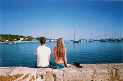 thirty two: You Can Have My Past (coracies) Tags: ocean pink blue boy sea summer sun hot film girl wall island bay boat pretty view ripple croatia sit anchor ist buoy disposable dipdye