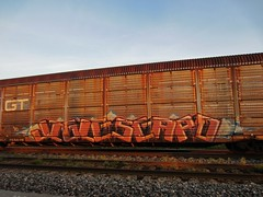 GRAND TRUNK (YardJock) Tags: graffiti streak spraypaint boxcar piece tagging hopper freighttrain autorack moniker