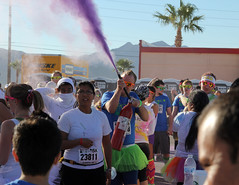 Crowd Dusting - Color Me Rad 5K - Las Vegas, NV (tossmeanote) Tags: las vegas people color colour me race canon geotagged fun eos corn colorful purple bright nevada rad running run nv event benefit 5k starch 24105 cmr 2013 23811 60d colormerad tossmeanote