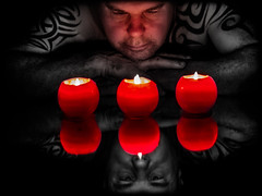 Three Red Candles (CWhatPhotos) Tags: pictures light shadow red portrait black color colour reflection art me colors look tattoo ink self canon reflections dark studio that lens photography eos prime mirror eyes candles candle colours foto image artistic pics body f14 chest low 14 watch watching picture sigma pic images tribal tattoos have burning upper part photographs photograph fotos round coloring stare mirrored tat which colouring contain select partial selective inked tatts 30mm tribaltattoo redcandle selfee cwhatphotos