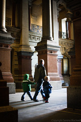 Family Outing (Harpo42) Tags: family light holiday art philadelphia architecture children december shadows centercity cityhall walk father small north columns historic philly marble sons phila unused holdhands northbroad 2013 northcourt northbroadstreet