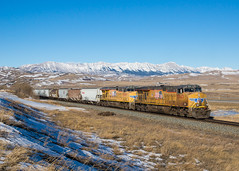 CP 386 @ Lundbreck, AB (Mathieu Tremblay) Tags: railroad winter canada up train pacific hiver union railway canadian southern alberta crowsnest cp chemin fer canadien subdivision pacifique lundbreck 5543 es44ac c45accte