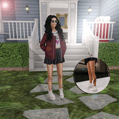 Love Me Again (Milk Rosati) Tags: family red sky white house black home beautiful grass fashion birds tattoo stairs circle blog hoodie shoes skin gray skirt blogger sl jacket secondlife converse second snapshots cropped bomber selfie sexygirl sexyavatar