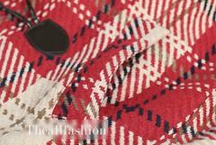 CC-0009-เสื้อโค้ทลายสก๊อตสไตล์สั้นเข้ารูปพร้อมขนเฟอร์รอบหมวกฮู้ดอินเทรนด์
