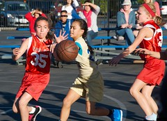 Going for the Ball (Kevin MG) Tags: northridge usa losangeles red gold basketball girls young preteen cute sports little nikond7000 nikon d7000 mv2 athlete athletes athletic ball balls california child children kid kids
