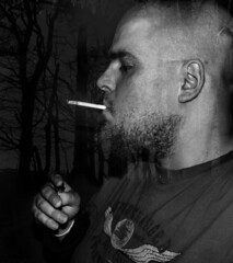 Out for a cigarette (adam_moralee) Tags: portrait bw white selfportrait man black male up self woods close view cigarette smoke side smoking explore finepix blended fujifilm sideview sideon blend selfy selfie picoftheday twoinone s1500 adammoralee