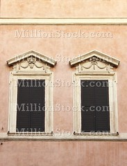 Renaissance windows (alessandro0770) Tags: red italy brown white house rome detail roma building castle art history home window wall architecture italian closed italia arch view arcade style palace symmetry architectural historic shutters blinds historical symmetrical vault marble ochre renaissance detailed baffles louvres arched louvers jalousies