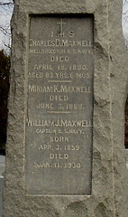 Maxwell Family Headstone Detail