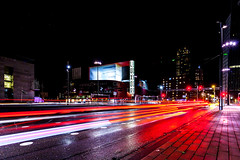 Luxor lights (Jheronimus) Tags: rotterdam lighttrails longexposure cityscape dutch thenetherlands holland zuidholland nightphotography night cartrails traffic luxor luxortheater road cars trafficlights europe europa travel travelphotography