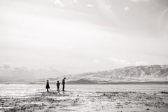 Come friends, let us away. (aamith) Tags: portrait landscape kids blackandwhite bw bnw monochrome silhouette beach lake utah mountains sky clouds