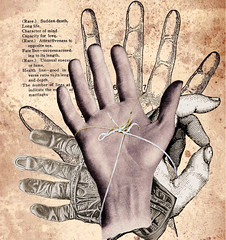 altered: tortured metaphor (hoolia14oh4) Tags: altered collage hands tied string anatomy palm reading vintage illustration art