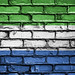 National Flag of Sierra Leone on a Brick Wall