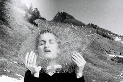 vitraux du jour (asketoner) Tags: ice face through girl woman mountain binn switzerland winter sun daylight hands holding landscape